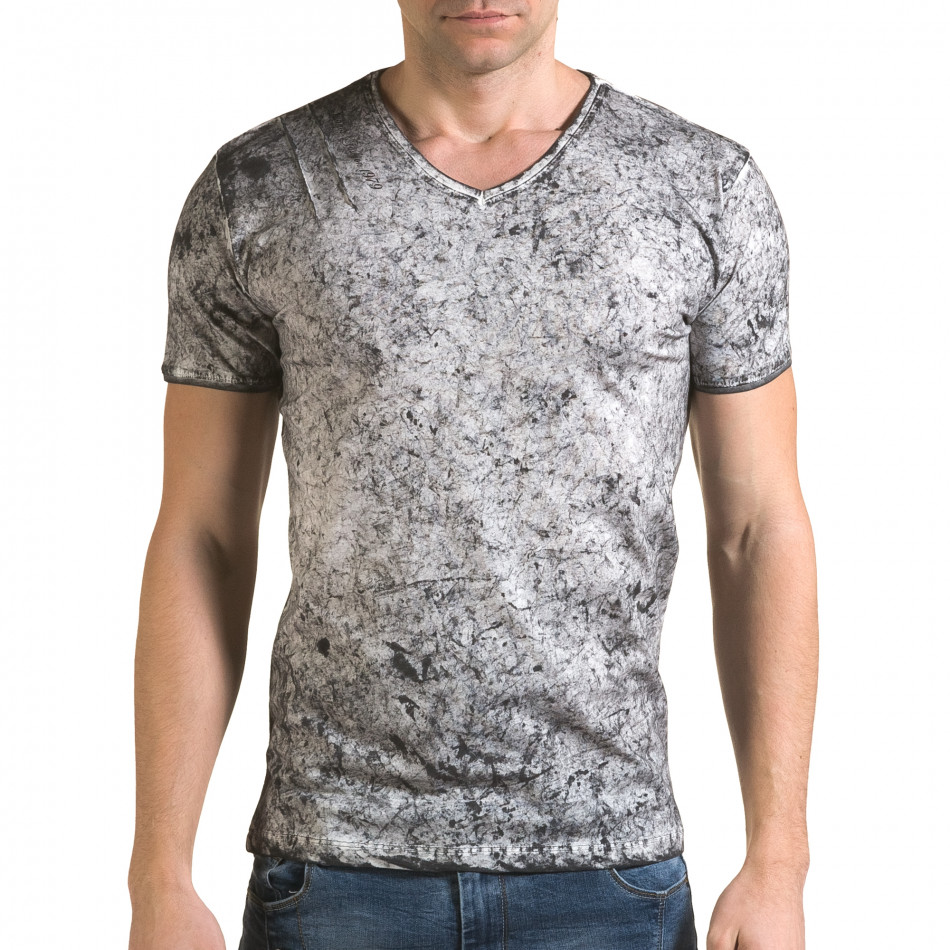Ανδρική γκρι κοντομάνικη μπλούζα Lagos il120216-17