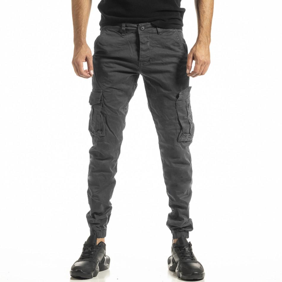 Ανδρικό γκρι παντελόνι Cargo Jogger tr161220-20
