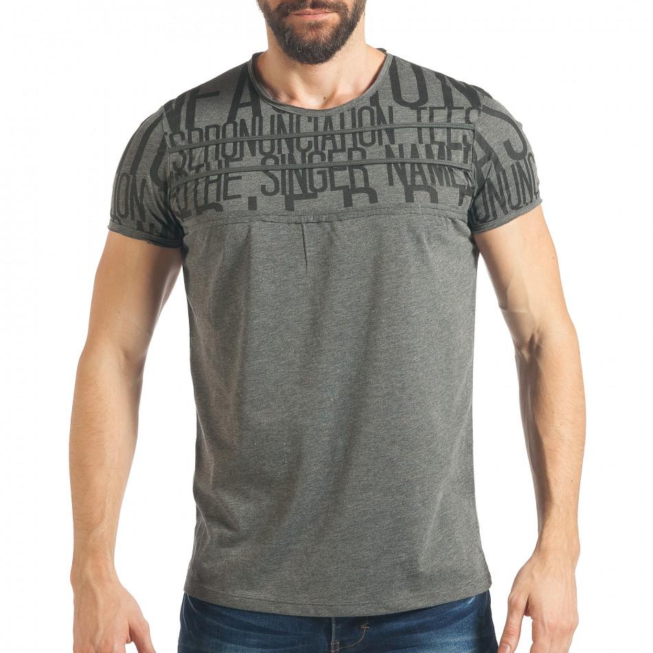 Ανδρική γκρι κοντομάνικη μπλούζα Lagos tsf020218-65