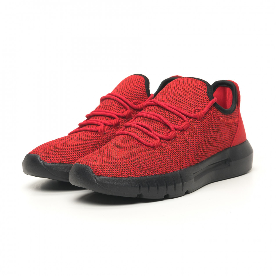 Ανδρικά κόκκινα μελάνζ αθλητικά παπούτσια ελαφρύ μοντέλο it041119-1
