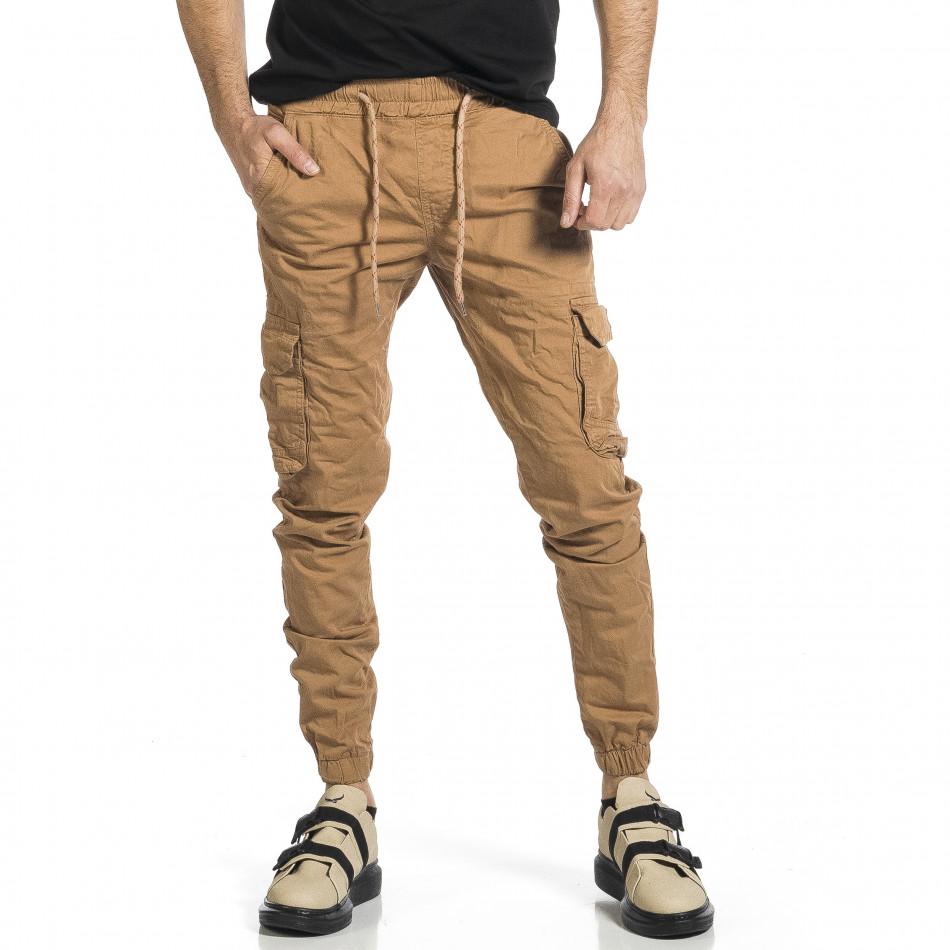 Ανδρικό camel παντελόνι cargo Plus Size tr270421-14