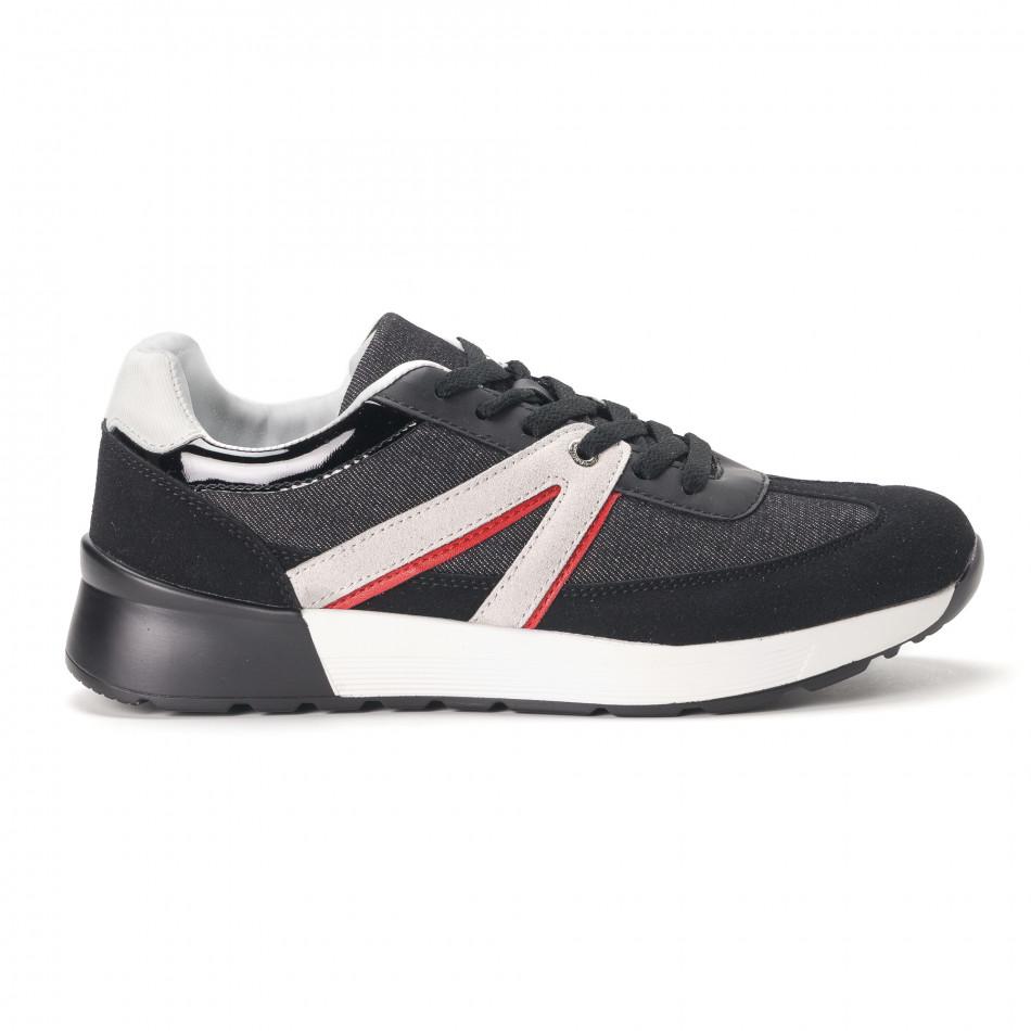 Ανδρικά μαύρα sneakers από συνδυασμό υφασμάτων it020618-19