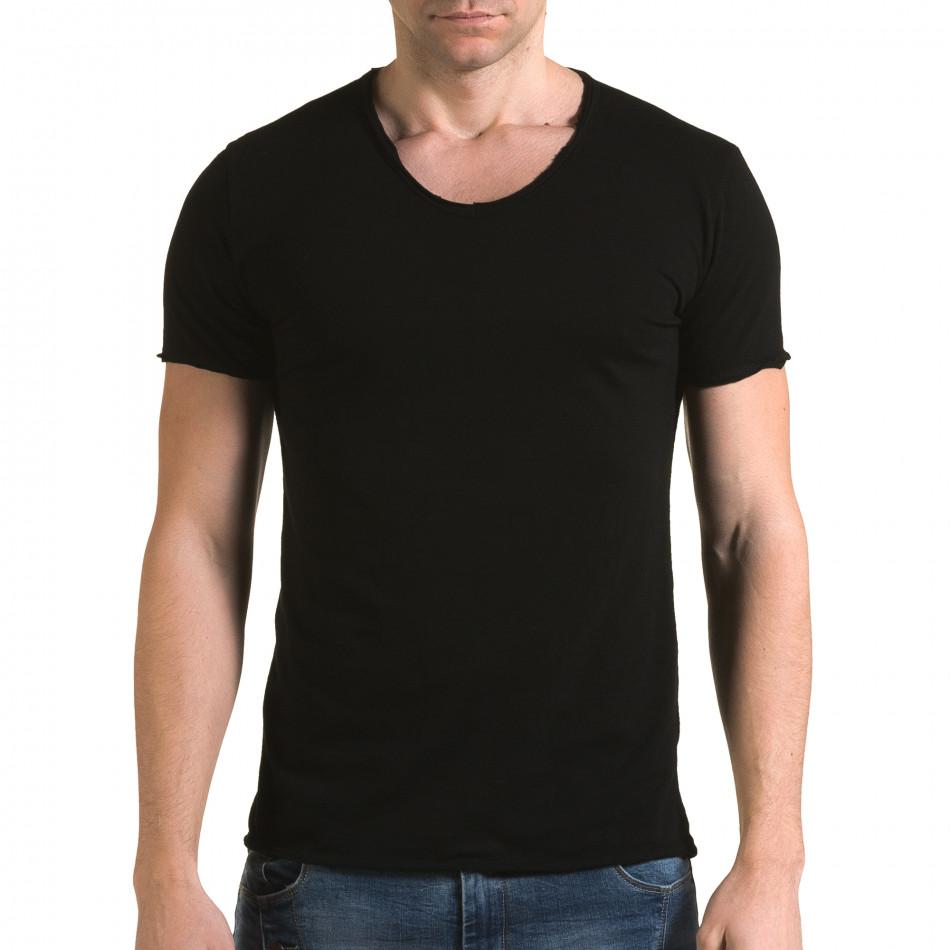 Ανδρική μαύρη κοντομάνικη μπλούζα FM it090216-78