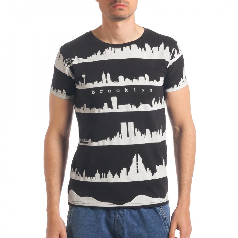 610d3a3d2f60 Ανδρική μαύρη κοντομάνικη μπλούζα Italian Lab it190417-95 ...