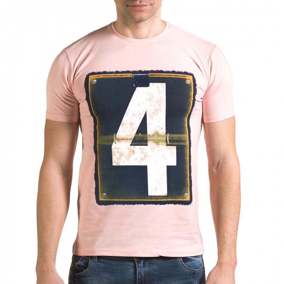 Ανδρική ροζ κοντομάνικη μπλούζα Lagos il120216-42