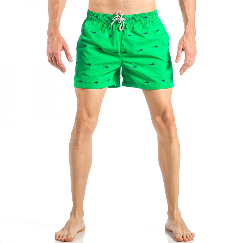 Ανδρικό πράσινο μαγιό με καρχαρίες it040518-102