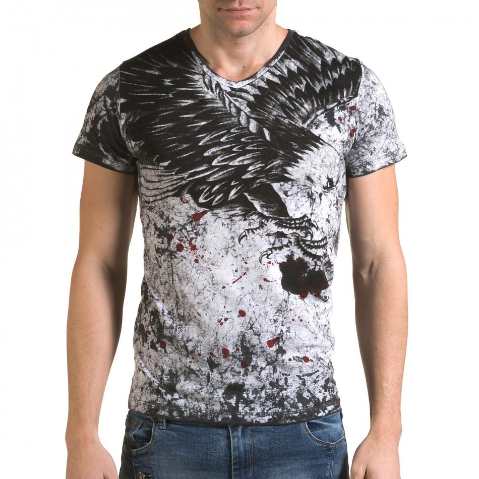 Ανδρική γκρι κοντομάνικη μπλούζα Lagos il120216-47