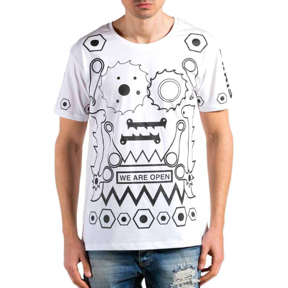 Ανδρική λευκή κοντομάνικη μπλούζα Kariqu it180315-46