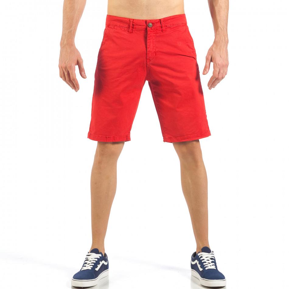 Ανδρική κόκκινη βερμούδα με ιταλικές τσέπες it260318-138