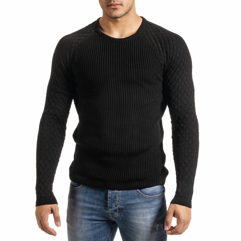 Ανδρικό μαύρο πουλόβερ Lagos it301020-16