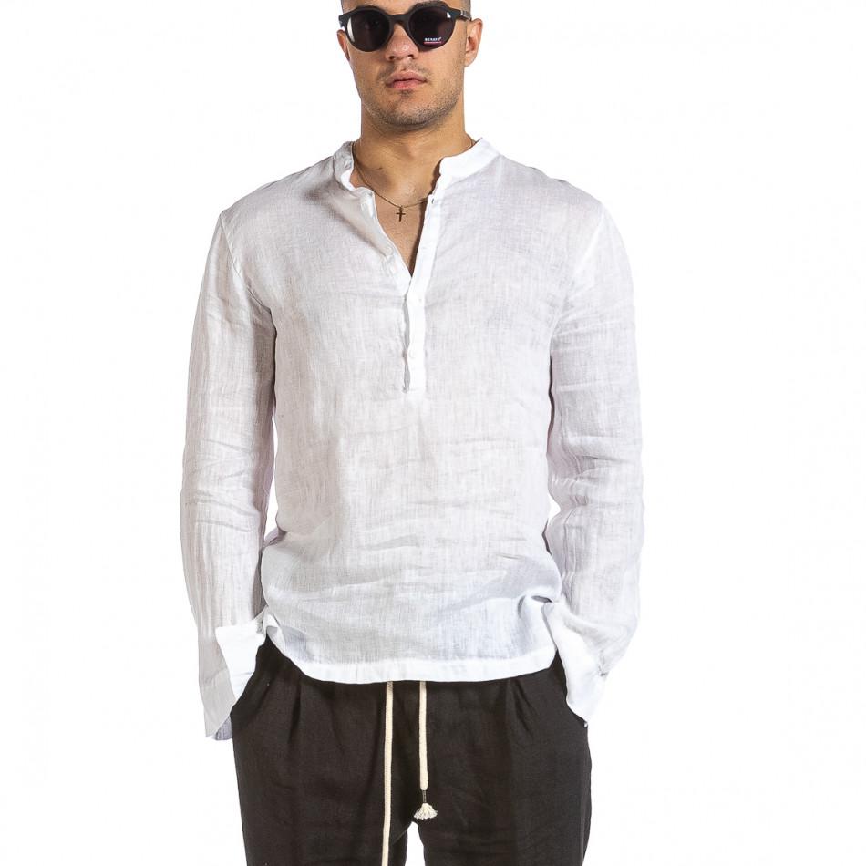 Ανδρικό λευκό λινό πουκάμισο Made in Italy it240621-35