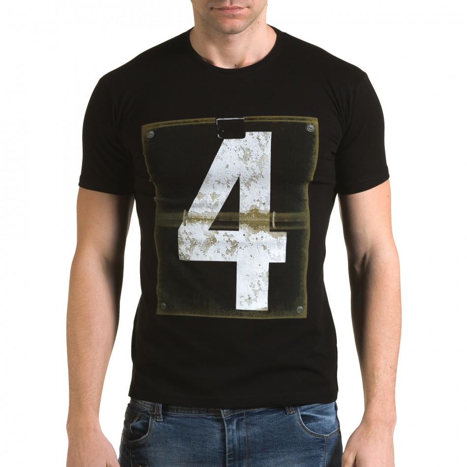 Ανδρική μαύρη κοντομάνικη μπλούζα Lagos il120216-43