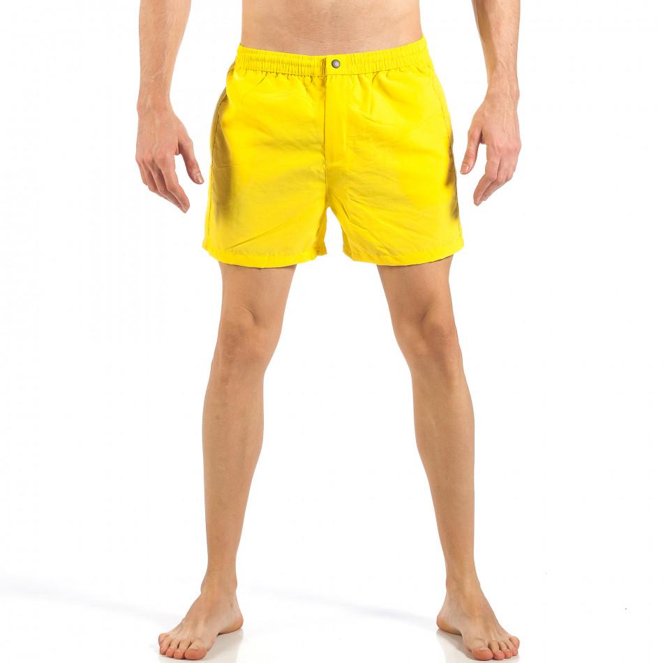 Ανδρικό κίτρινο μαγιό με φερμουάρ και κουμπί  it260318-203