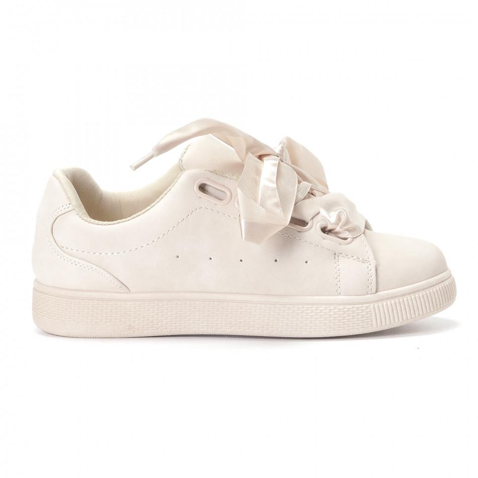 Γυναικεία μπεζ sneakers από Ecco nubuck και κορδόνια από σατέν ... b90a510b2ab
