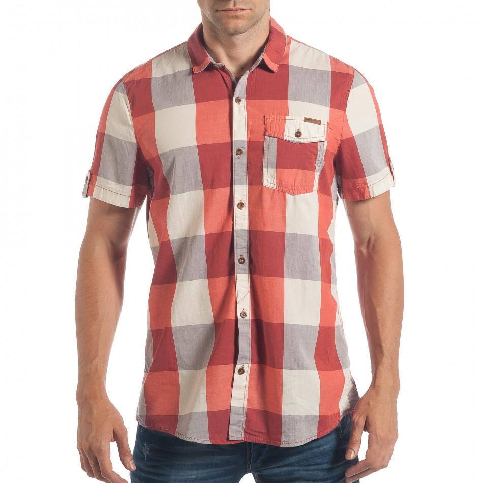 Ανδρικό κόκκινο κοντομάνικο πουκάμισο CROPP lp180717-124