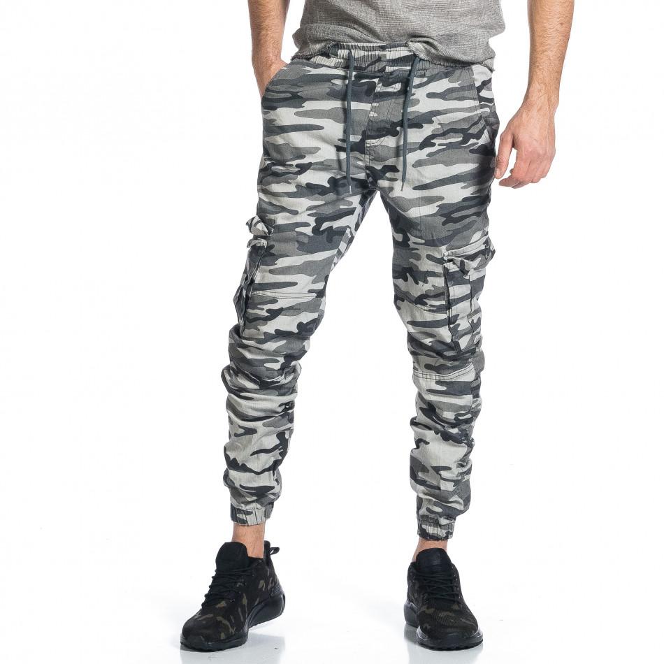 Ανδρικό γκρι καμουφλαζ παντελόνι cargo tr270421-4
