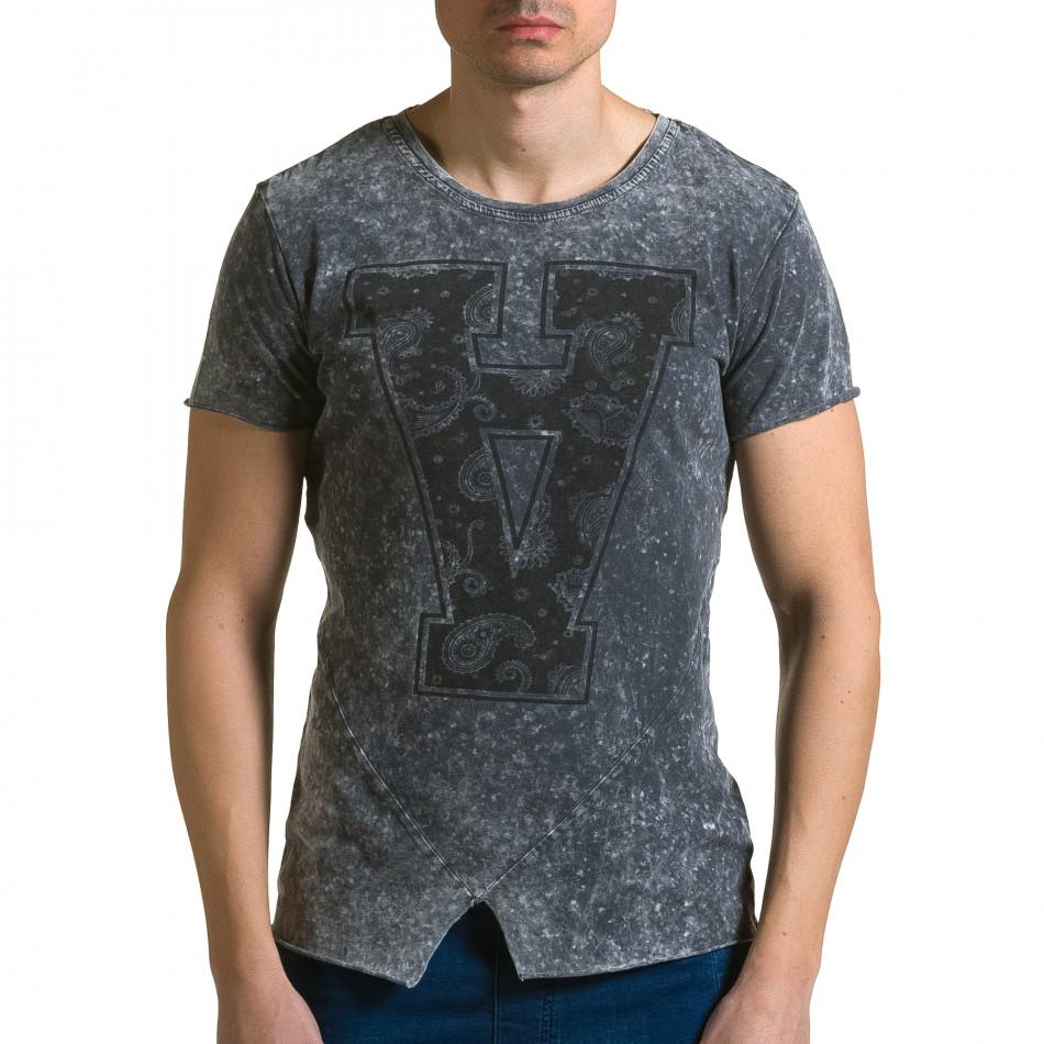 Ανδρική γκρι κοντομάνικη μπλούζα Adrexx ca190116-48