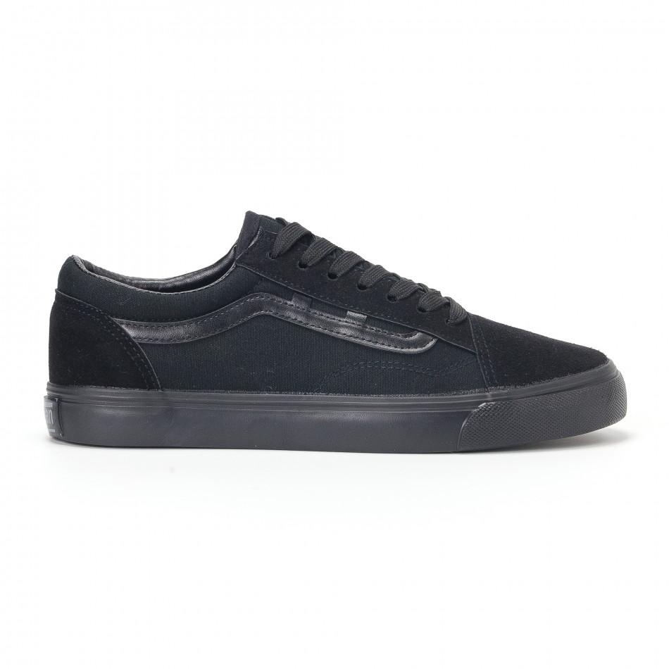 Ανδρικά μαύρα υφασμάτινα sneakers Old Skool it160318-25