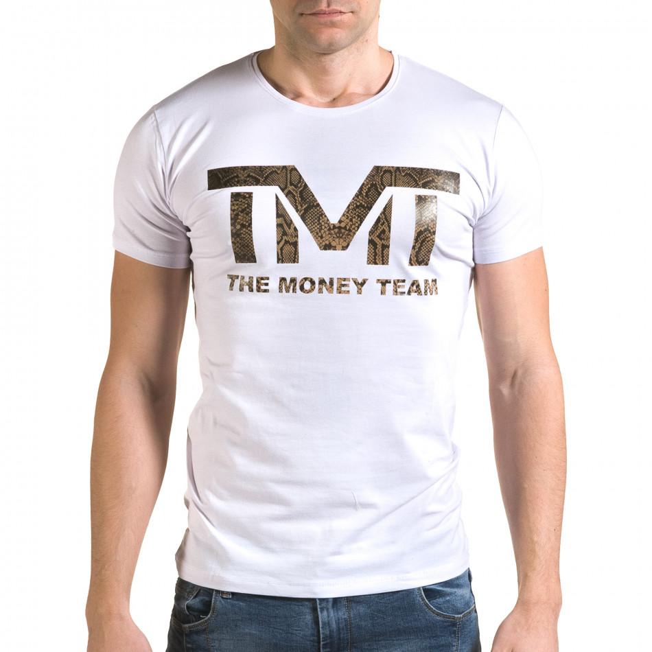 Ανδρική λευκή κοντομάνικη μπλούζα Glamsky il120216-63