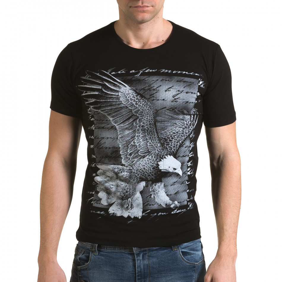 Ανδρική μαύρη κοντομάνικη μπλούζα Lagos il120216-51