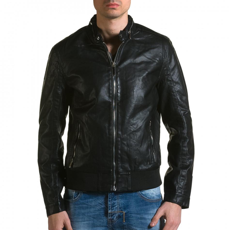 Ανδρικό μαύρο μπουφαν δερματινη X-Feel ca190116-34