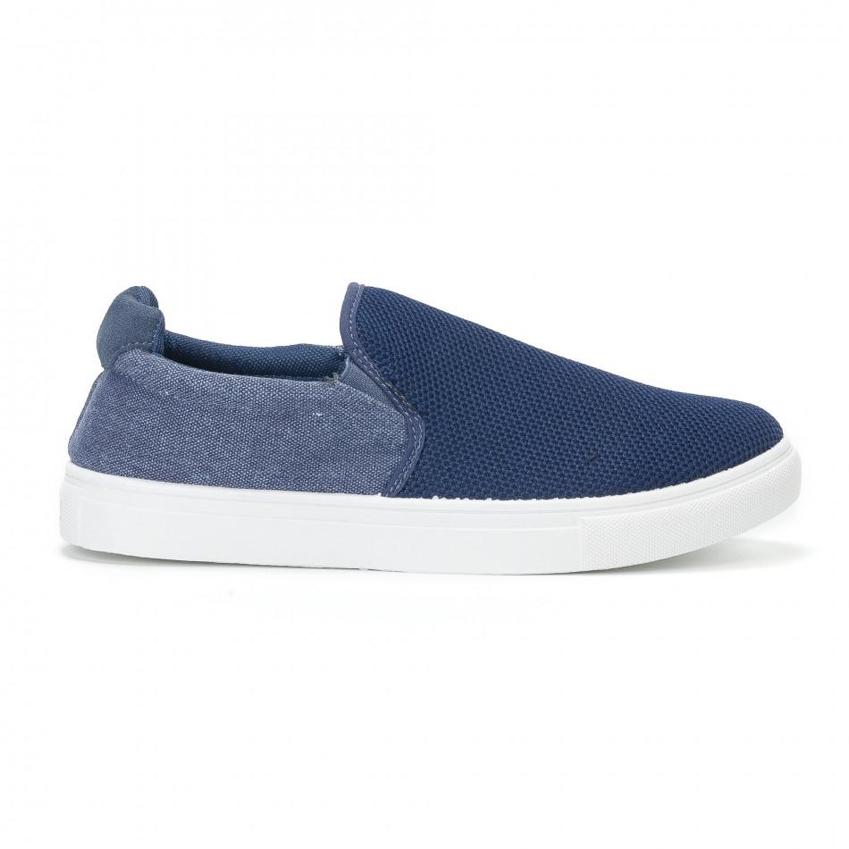 Ανδρικά μπλε sneakers slip-on από τζιν ύφασμα it160318-12