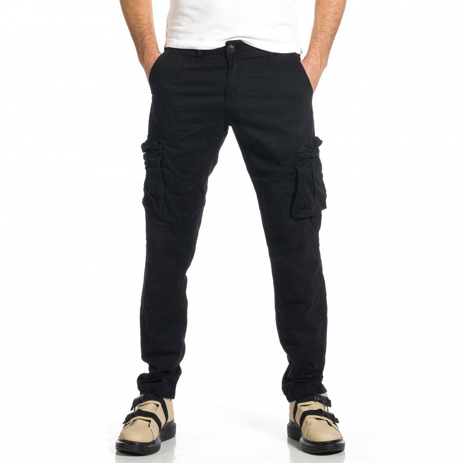 Ανδρικό μαύρο παντελόνι cargo σε ίσια γραμμή Plus Size tr270421-15
