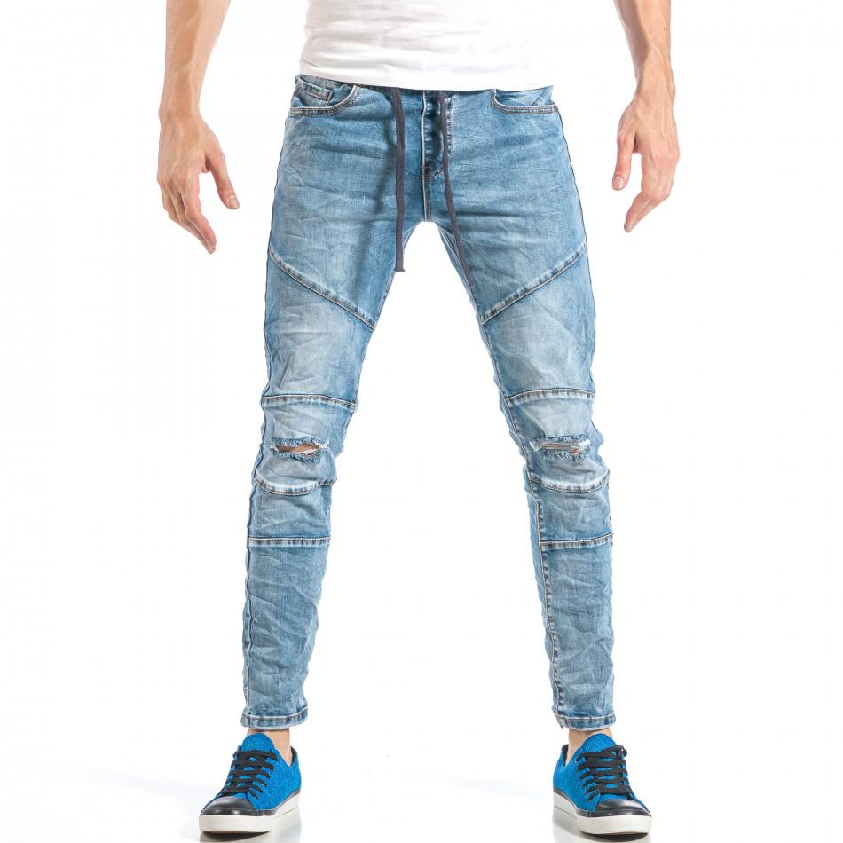 Ανδρικό γαλάζιο τζιν στύλ ρόκερ με λάστιχο it040518-5