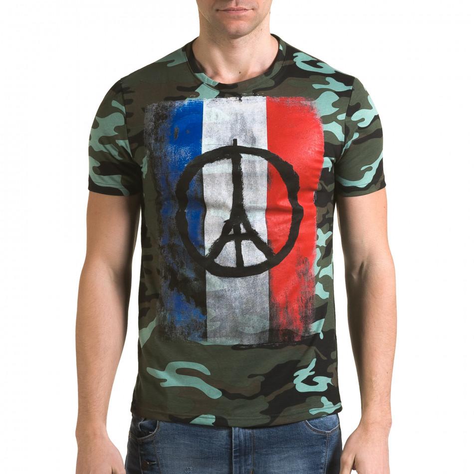 Ανδρική πράσινη κοντομάνικη μπλούζα Italian Boy it090216-65