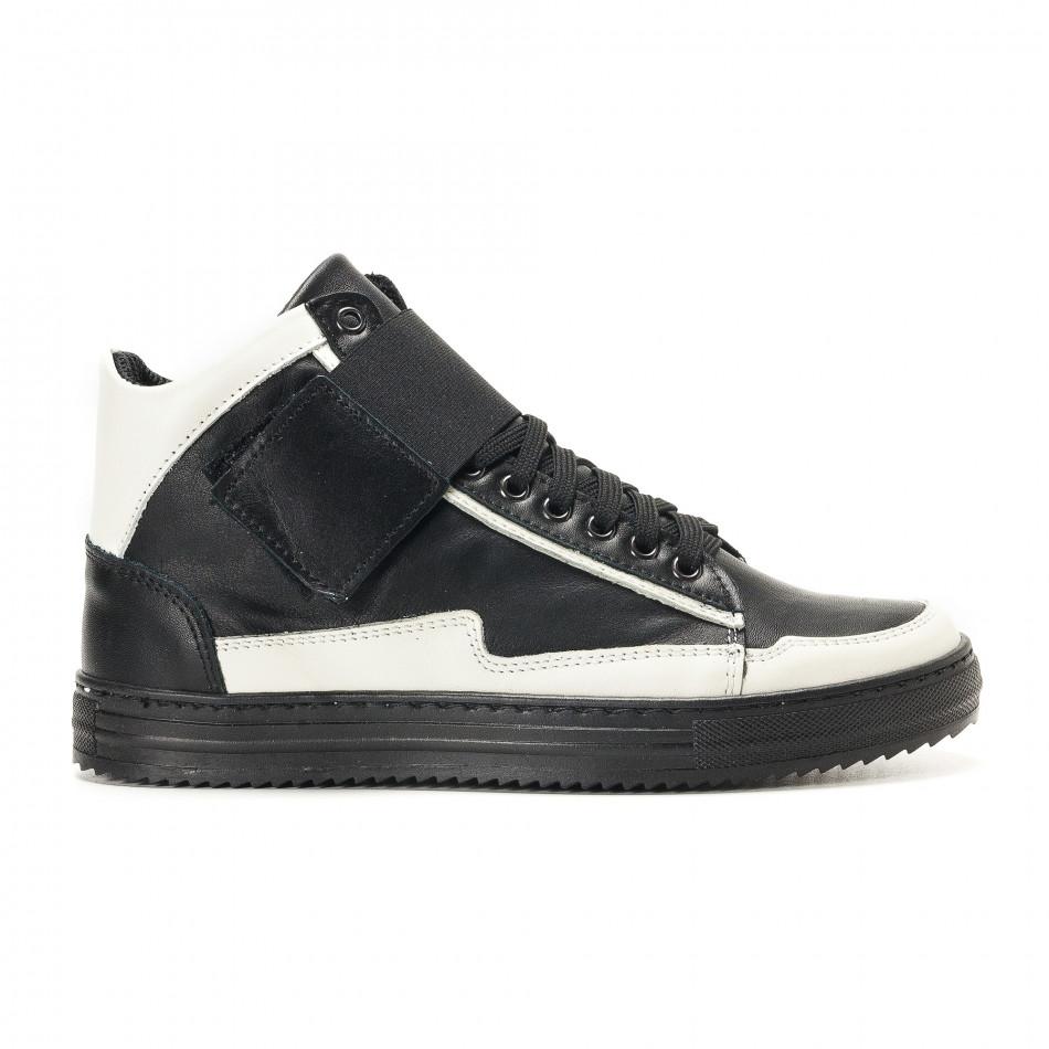 Ανδρικά μαύρα δερμάτινα sneakers BKS it291117-20