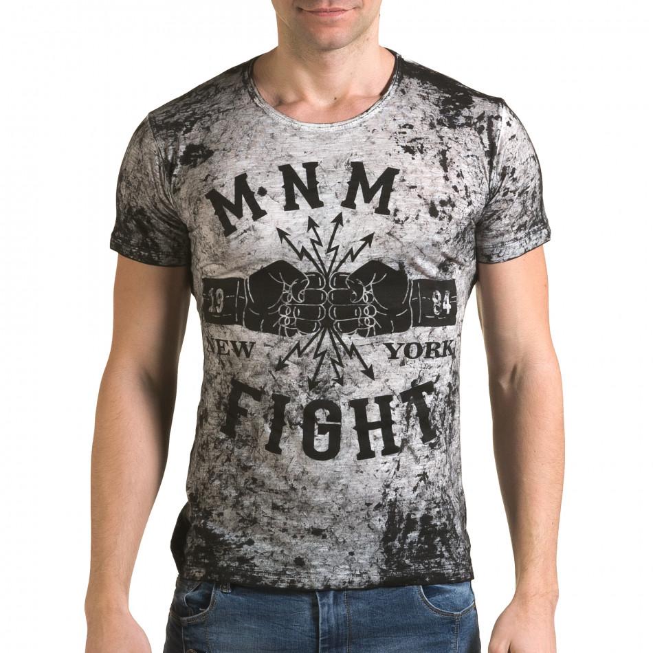 Ανδρική γκρι κοντομάνικη μπλούζα Lagos il120216-10