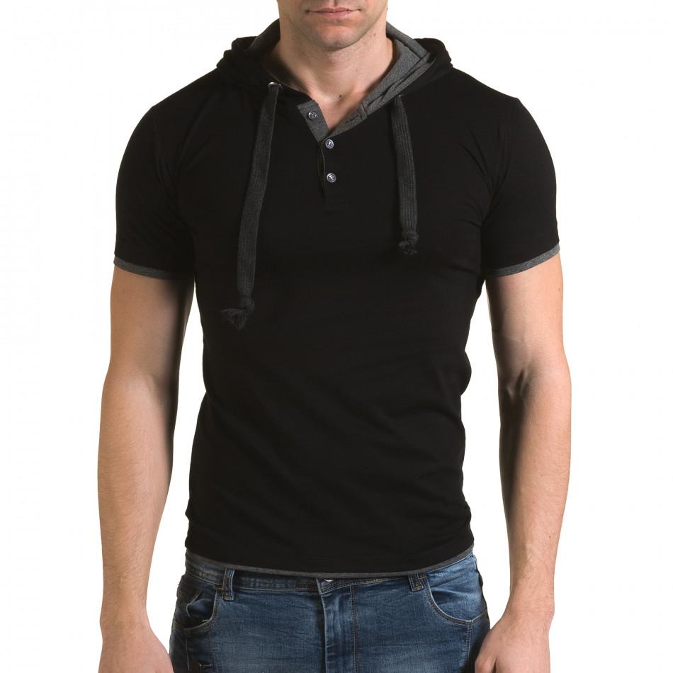 Ανδρική μαύρη κοντομάνικη μπλούζα Lagos il120216-60