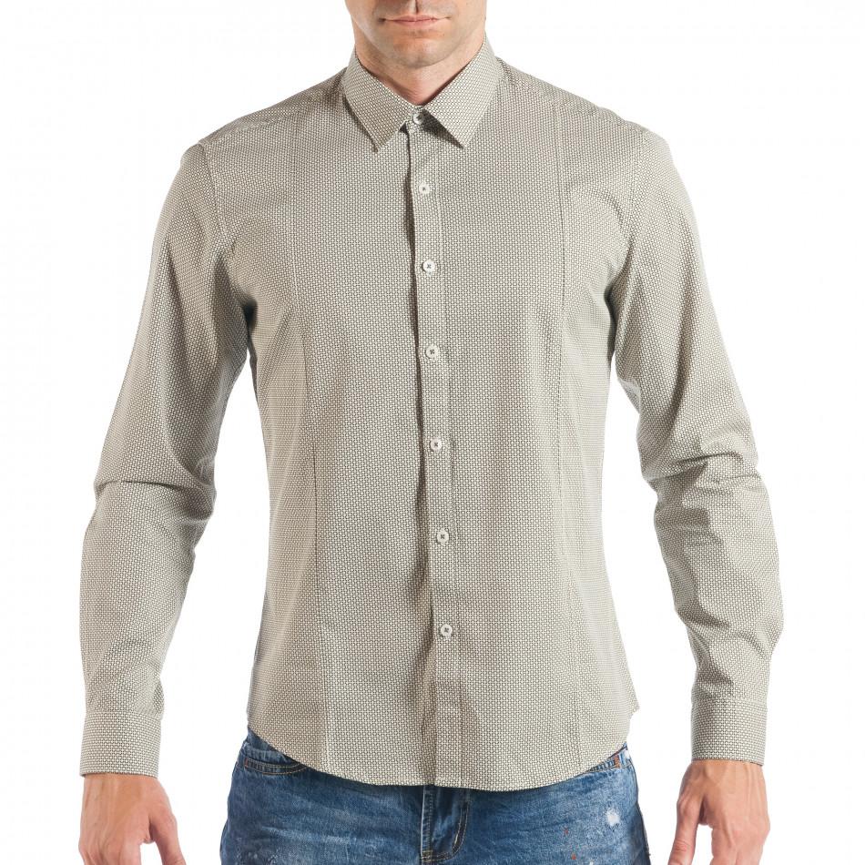 4ce53040cf8a Ανδρικό μπεζ πουκάμισο με κλασικό πριντ it050618-12 - Fashionmix.gr