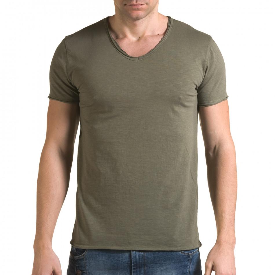 Ανδρική πράσινη κοντομάνικη μπλούζα FM it090216-76