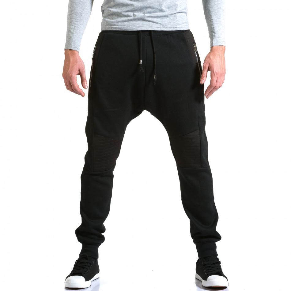 Ανδρικό μαύρο παντελόνι jogger New Star it211015-57