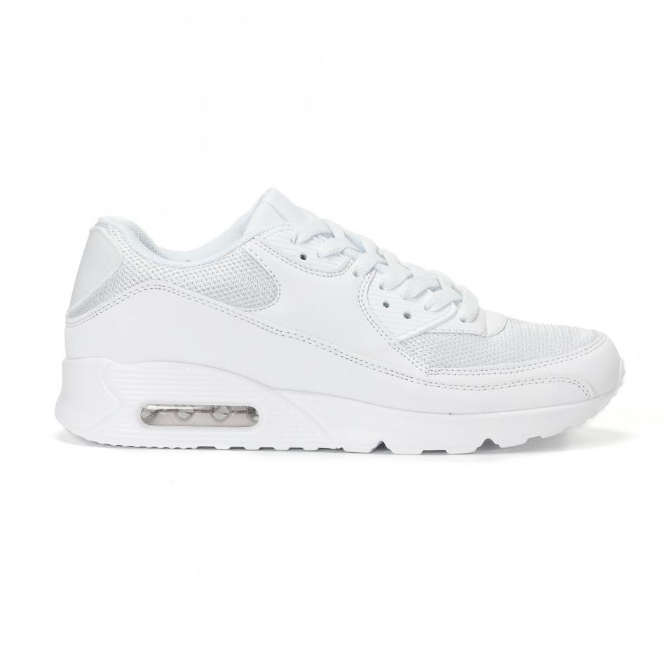 Ανδρικά λευκά αθλητικά παπούτσια με σόλες αέρα it160318-2