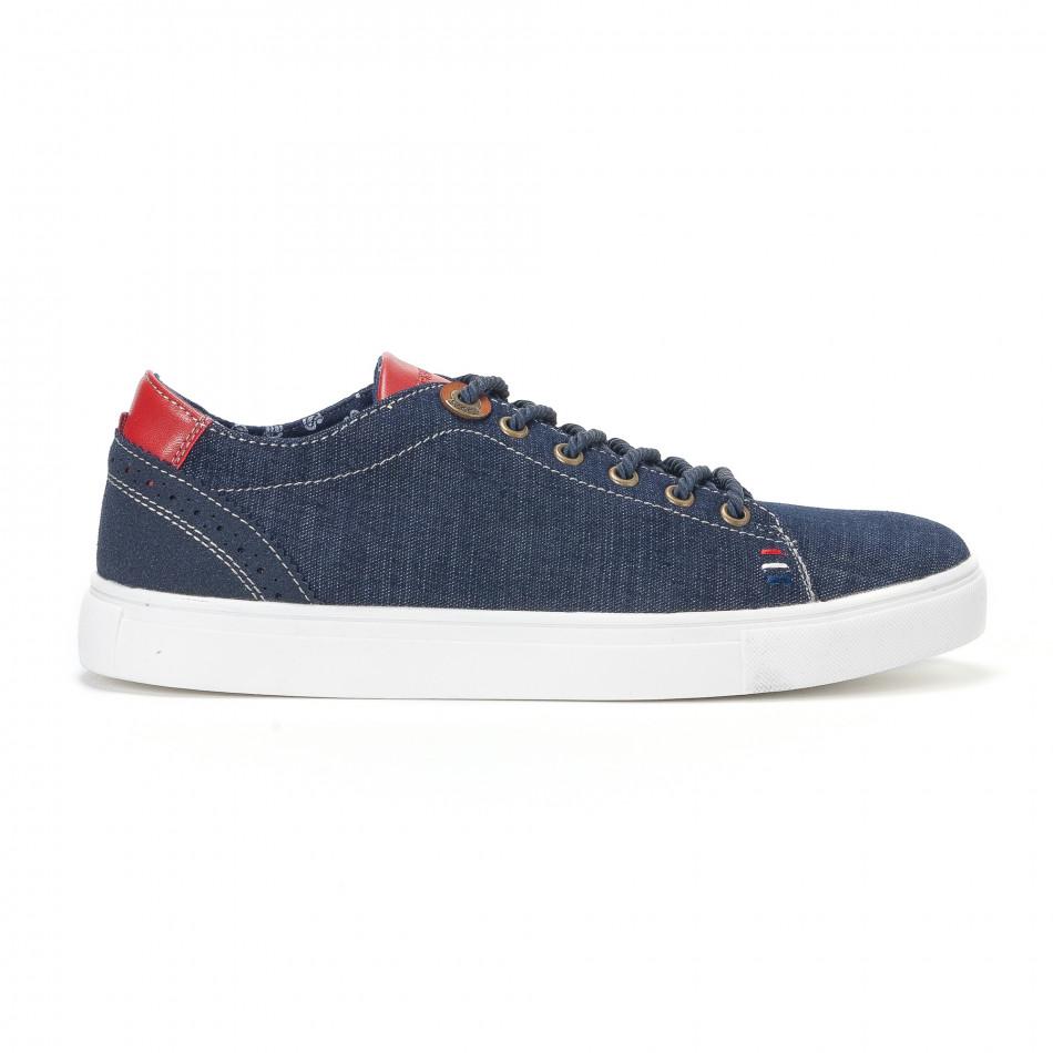 Ανδρικά μπλε τζιν αθλητικά παπούτσια με κόκκινη γλώσσα it160318-10