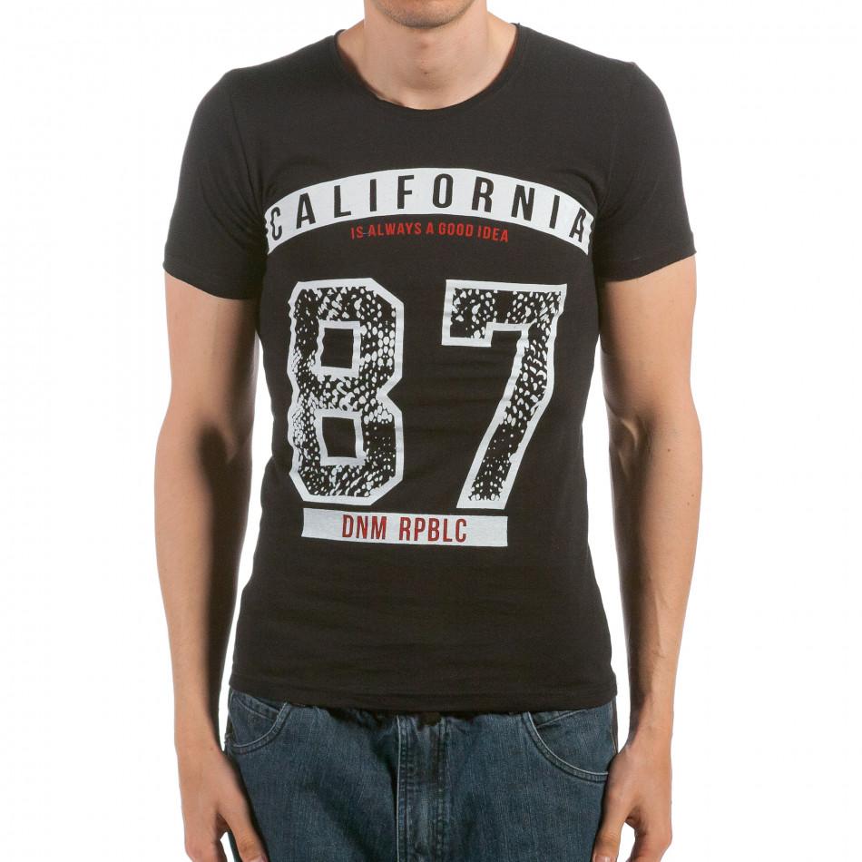 Ανδρική μαύρη κοντομάνικη μπλούζα Denim Republic il120515-101