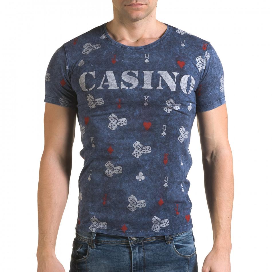 Ανδρική γαλάζια κοντομάνικη μπλούζα Lagos il120216-30