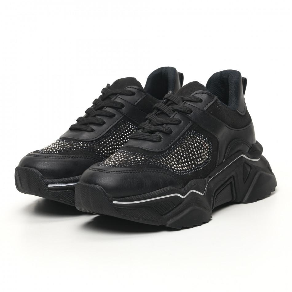 Γυναικεία μαύρα sneakers Seribo tr180320-17