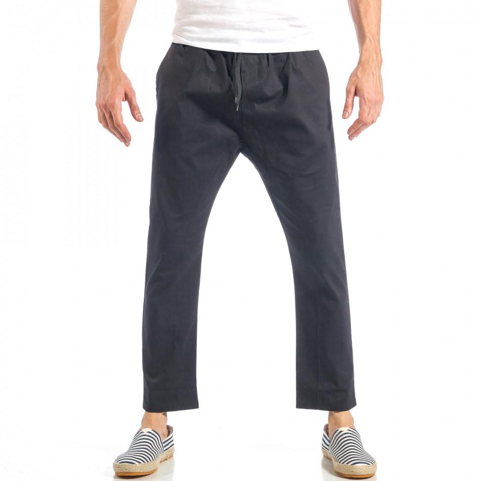 Ανδρικό μαύρο ελεύθερο παντελόνι με λάστιχο it040518-17