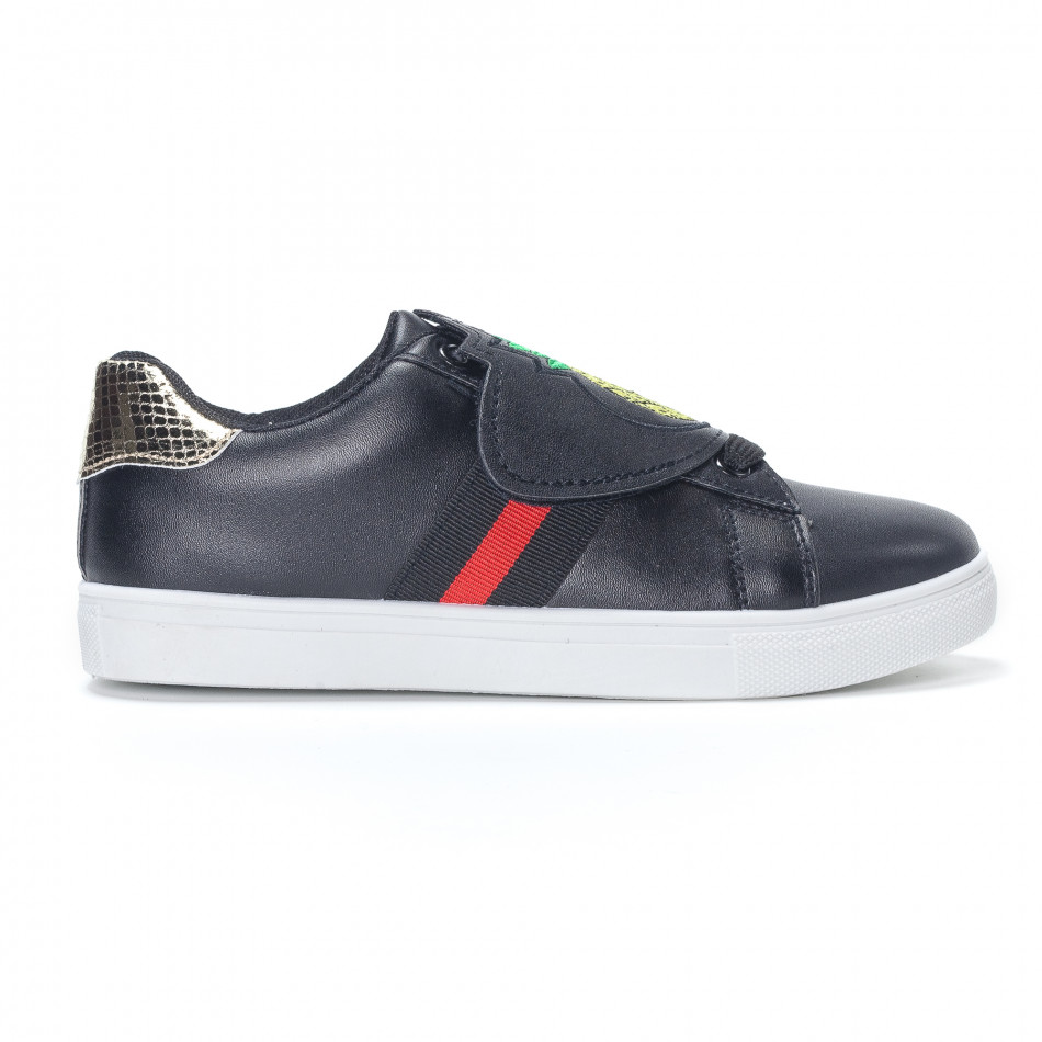 Γυναικεία μαύρα sneakers με κινούμενο αυτοκόλλητο ανανά it230418-55