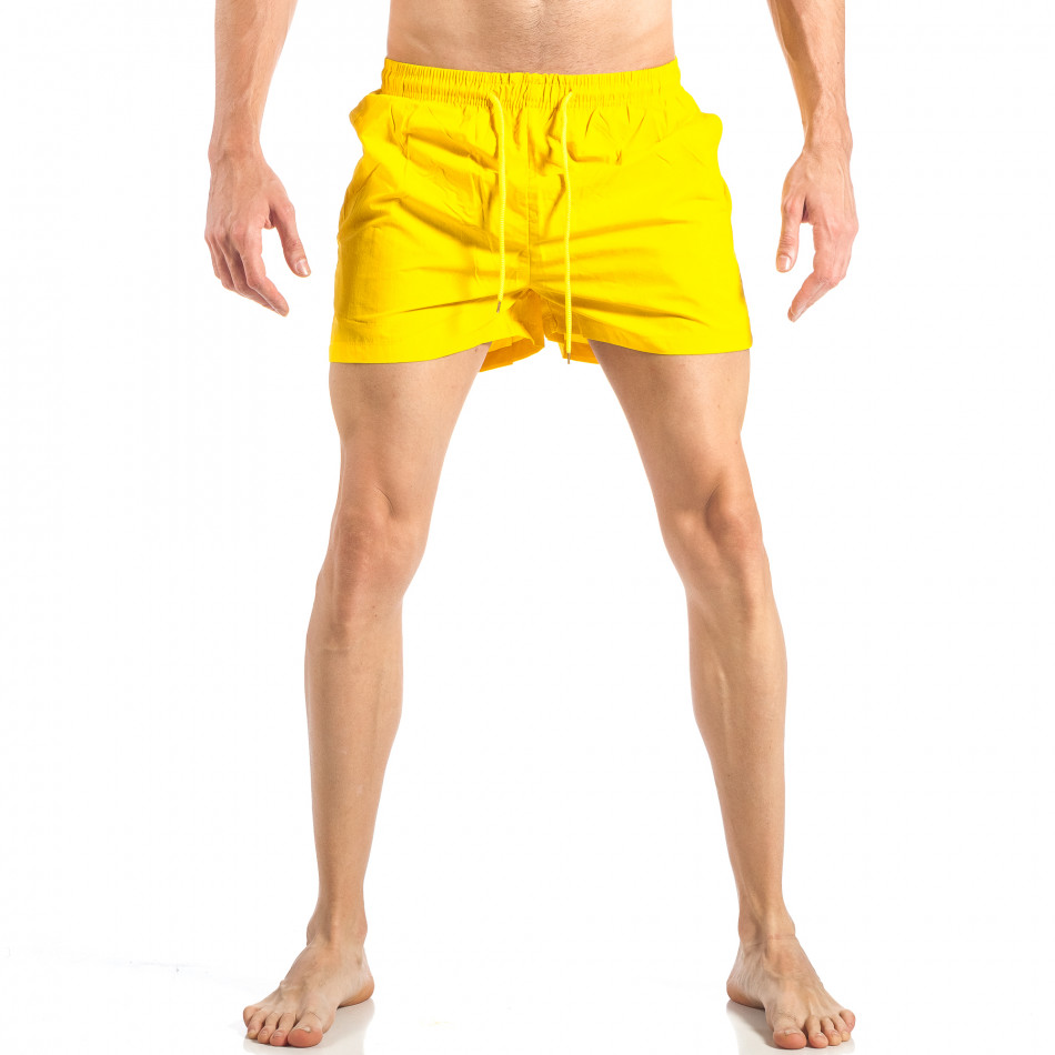 Ανδρικό κίτρινο μαγιό με ρίγες σε τρία χρώματα it040518-93