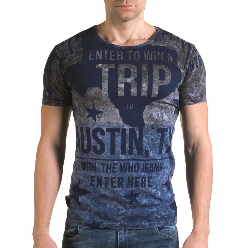 Ανδρική γαλάζια κοντομάνικη μπλούζα Lagos il120216-24