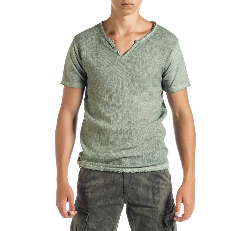 Ανδρική πράσινη κοντομάνικη μπλούζα Duca Homme it010720-26