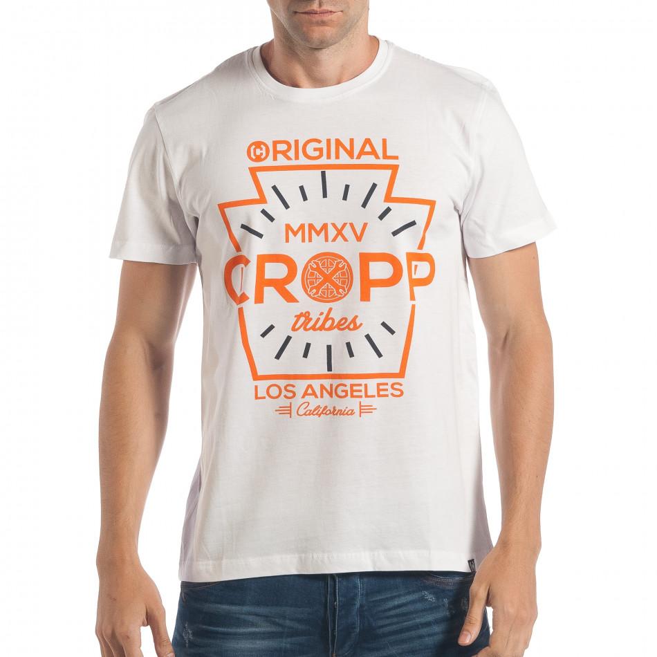 Ανδρική λευκή κοντομάνικη μπλούζα lp180717-163