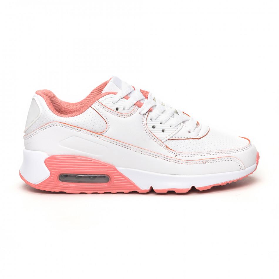 Γυναικεία λευκά-ροζ αθλητικά παπούτσια με αερόσολα it051219-11