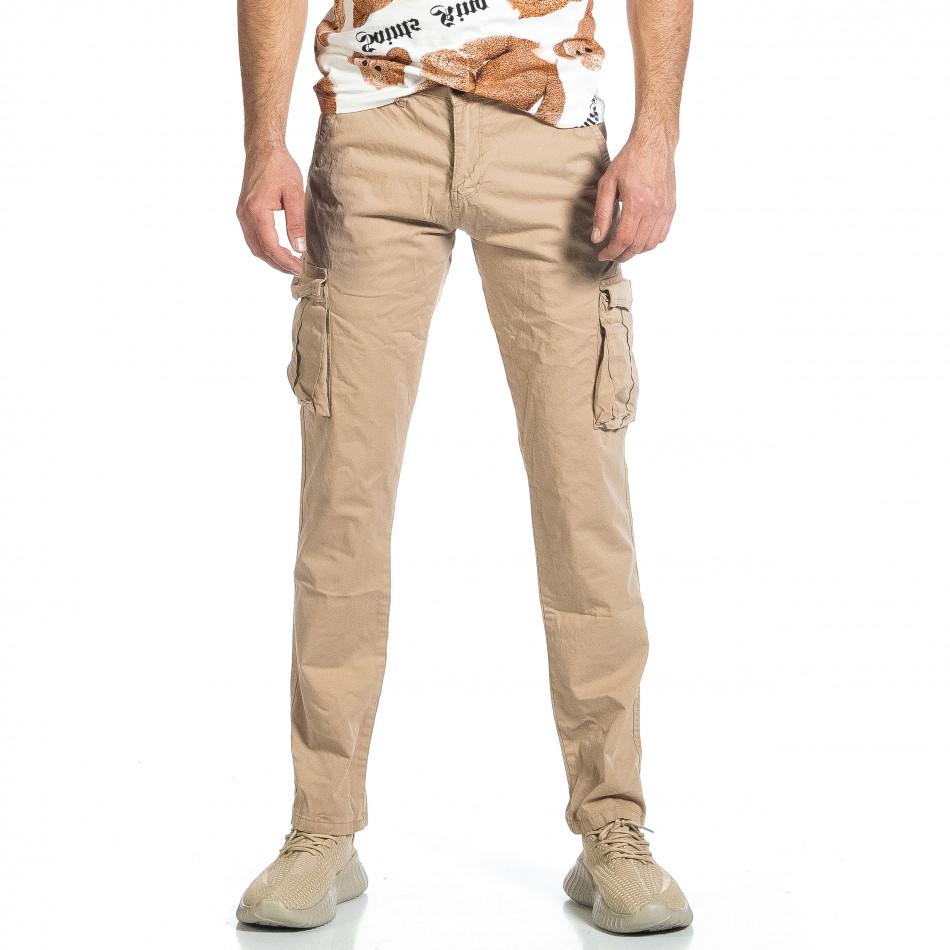 Ανδρικό μπεζ παντελόνι cargo σε ίσια γραμμή Plus Size tr270421-16