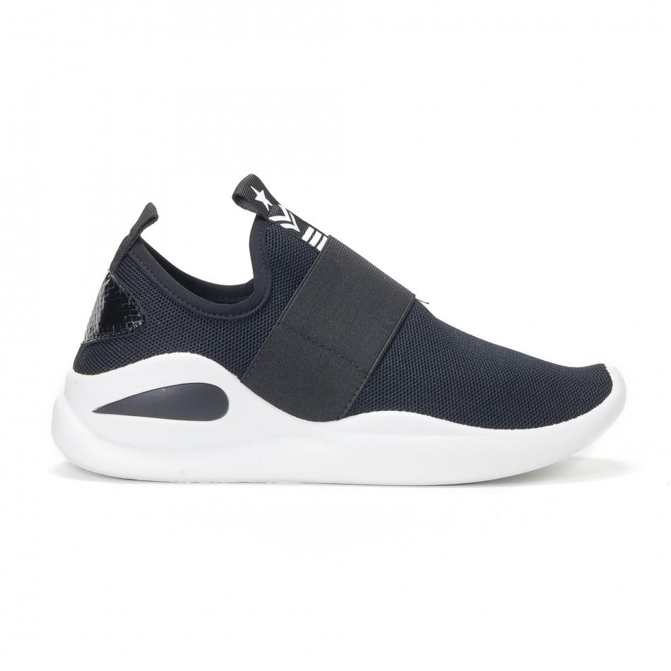 Ανδρικά μαύρα αθλητικά slip-on κάλτσα με διακοσμητικό λάστιχο it160318-33