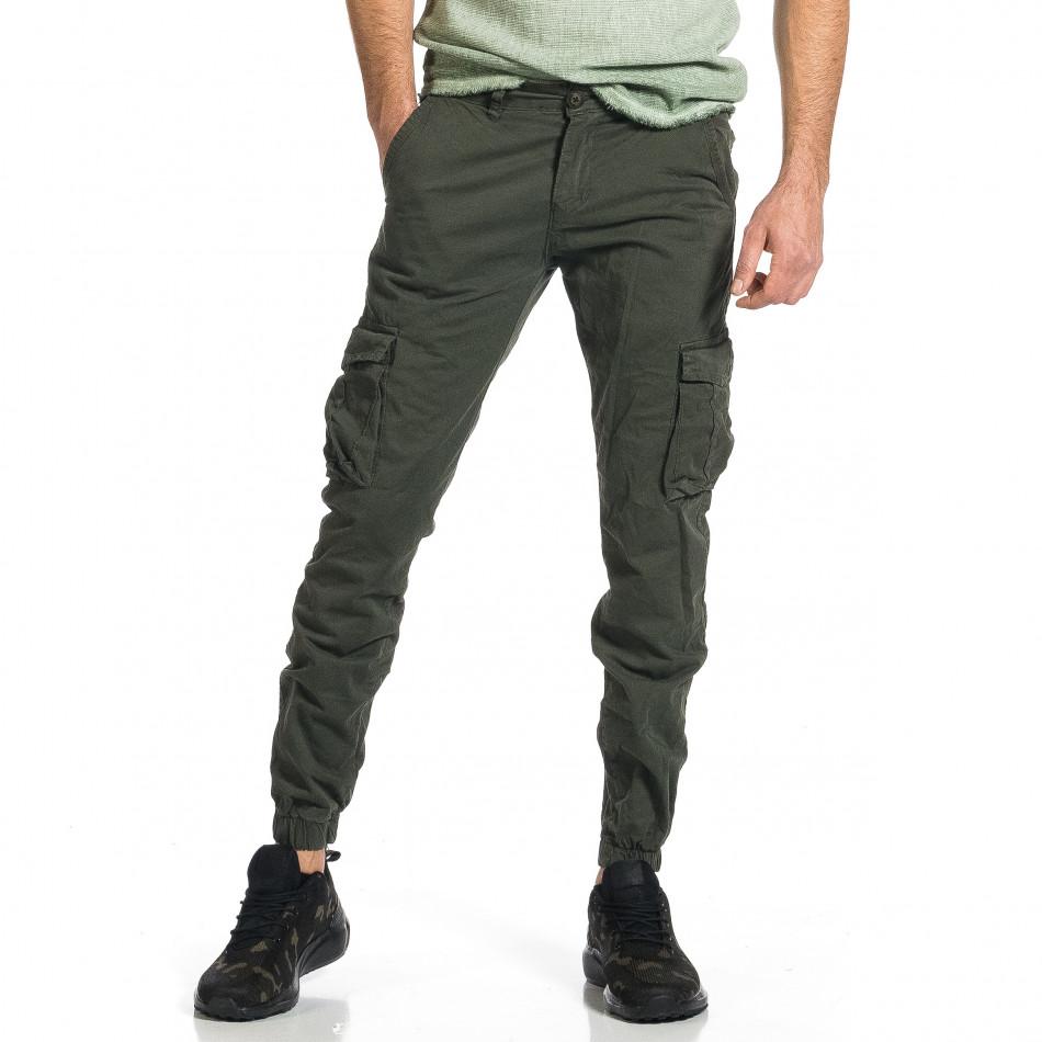 Ανδρικό πράσινο παντελόνι cargo Plus Size tr270421-11